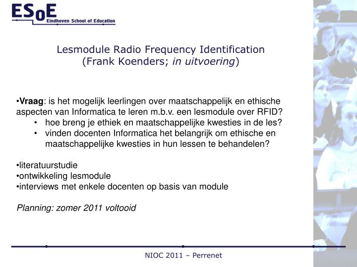 Lesmodule Radio Frequency Identification