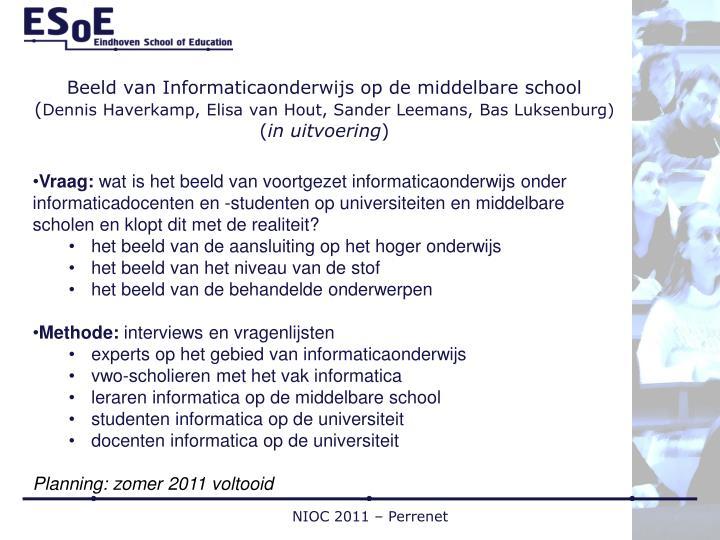 Beeld van Informaticaonderwijs op de middelbare school