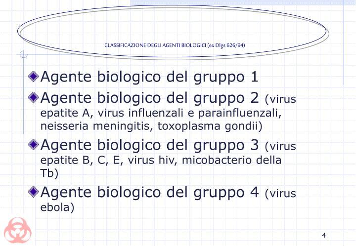CLASSIFICAZIONE DEGLI AGENTI BIOLOGICI (ex Dlgs 626/94)