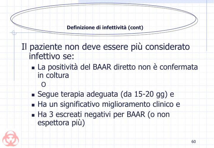 Definizione di infettività (cont)