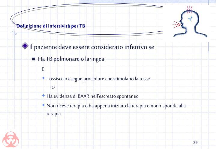 Definizione di infettività per TB