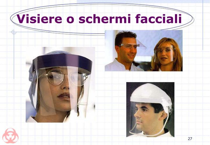 Visiere o schermi facciali