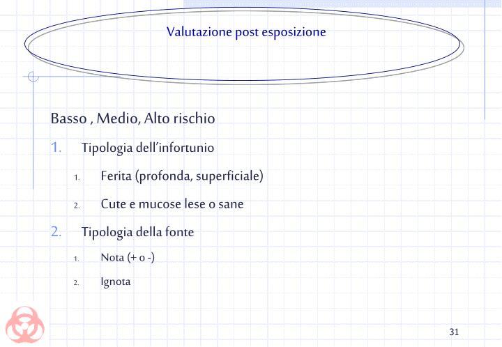 Valutazione post esposizione
