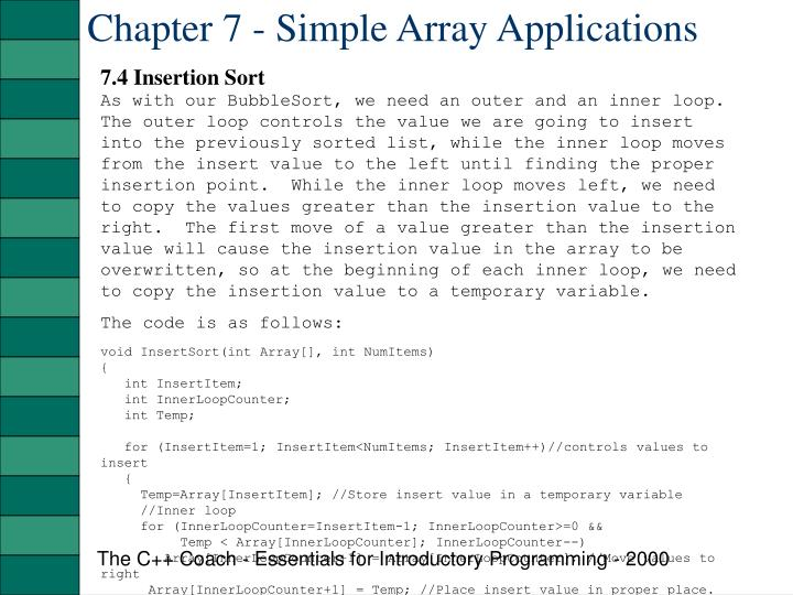 Chapter 7 - Simple Array Applications