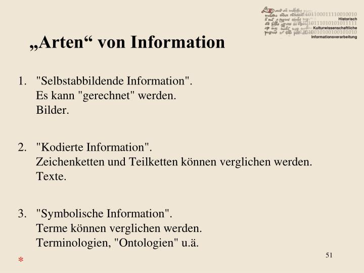 """""""Arten"""" von Information"""