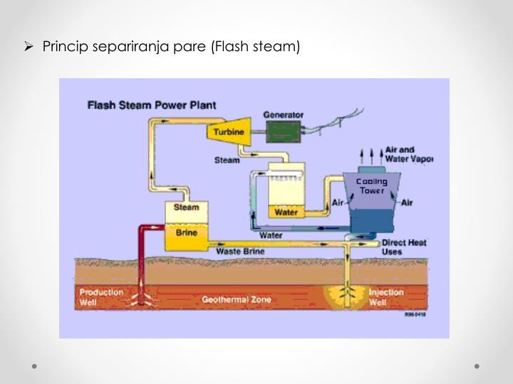 Princip separiranja pare (Flash steam)