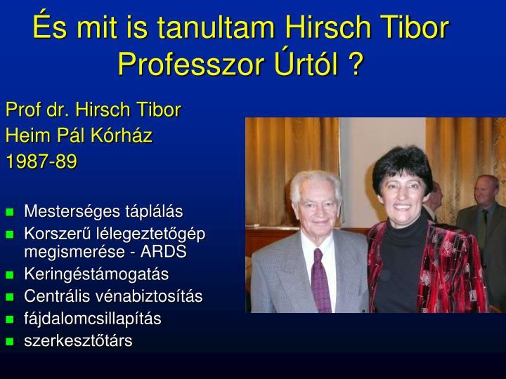 És mit is tanultam Hirsch Tibor Professzor Úrtól ?