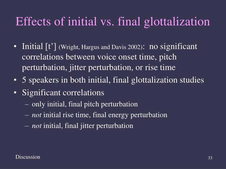 Effects of initial vs. final glottalization