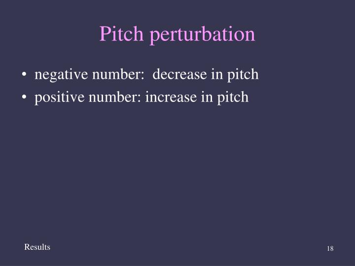 Pitch perturbation