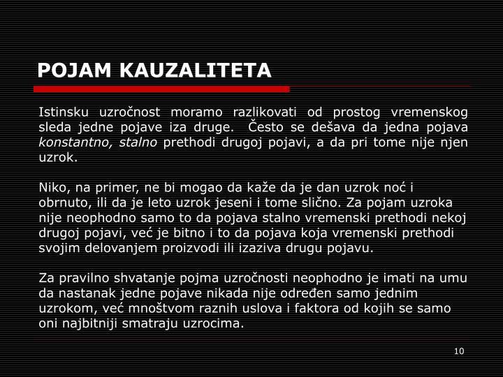 POJAM KAUZALITETA
