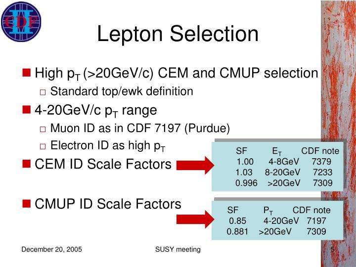 Lepton Selection