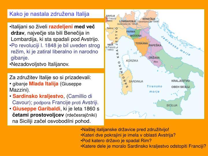 Kako je nastala združena Italija