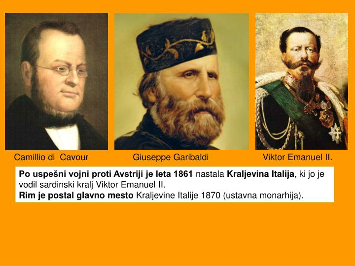 Camillio di  Cavour     Giuseppe GaribaldiViktor Emanuel II.