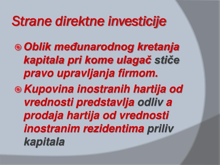 Strane direktne investicije