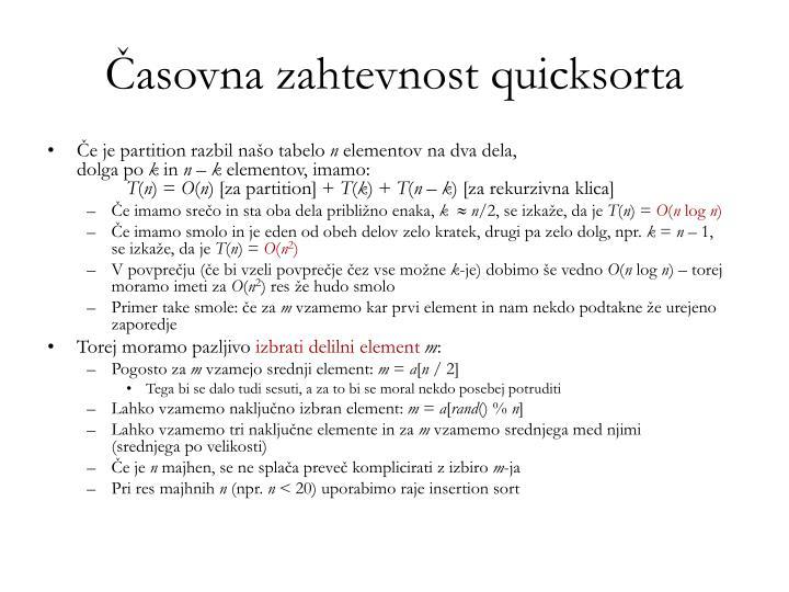 Časovna zahtevnost quicksorta