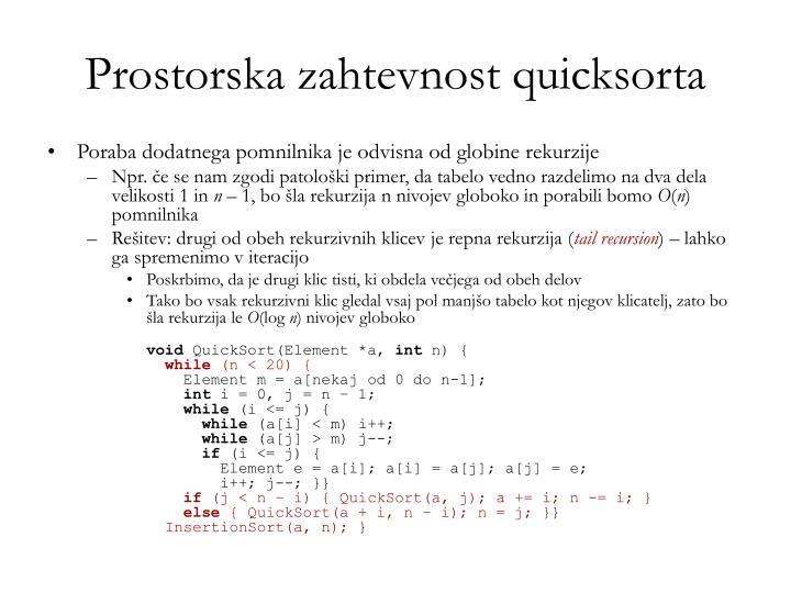 Prostorska zahtevnost quicksorta