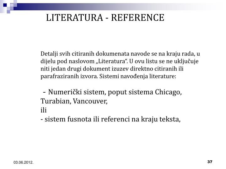 LITERATURA - REFERENCE
