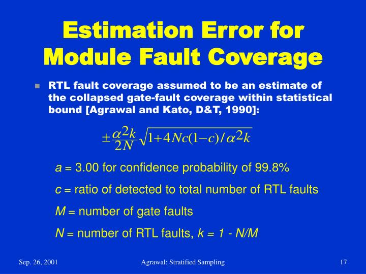 Estimation Error for Module Fault Coverage