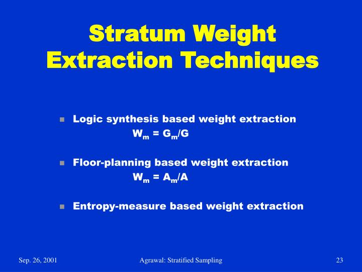 Stratum Weight Extraction Techniques