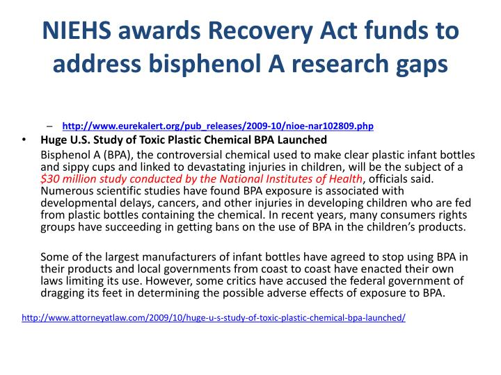 NIEHS awards Recovery Act funds to address bisphenol A research gaps