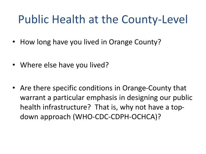 Public Health at the County-Level