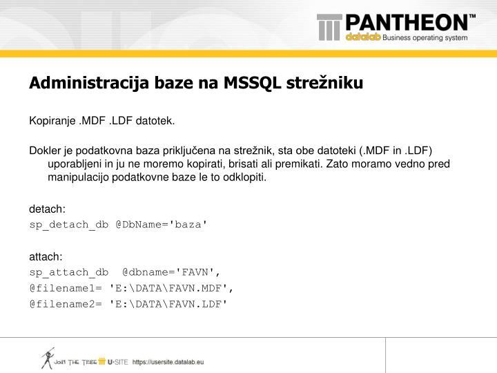 Administracija baze na MSSQL strežniku