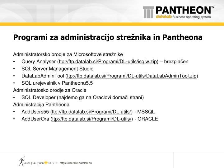 Programi za administracijo strežnika in Pantheona
