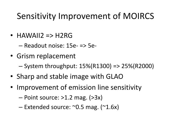 Sensitivity Improvement of MOIRCS