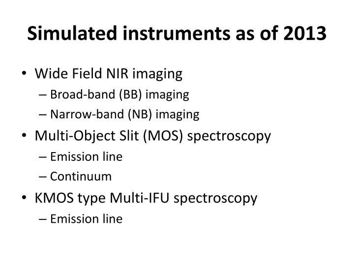 Simulated instruments as of 2013