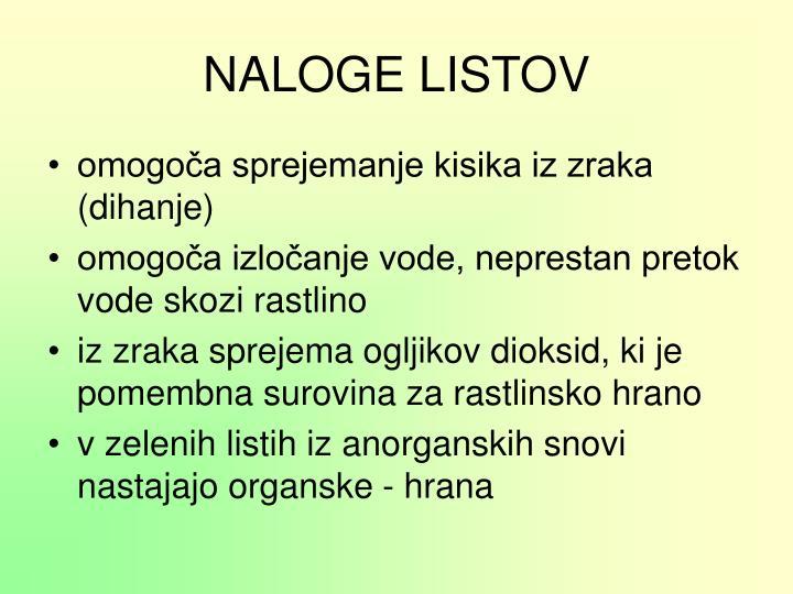 NALOGE LISTOV