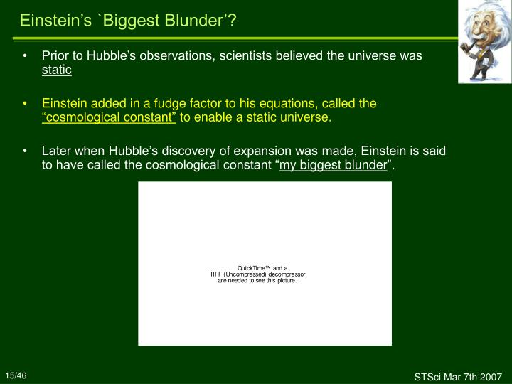 Einstein's `Biggest Blunder'?