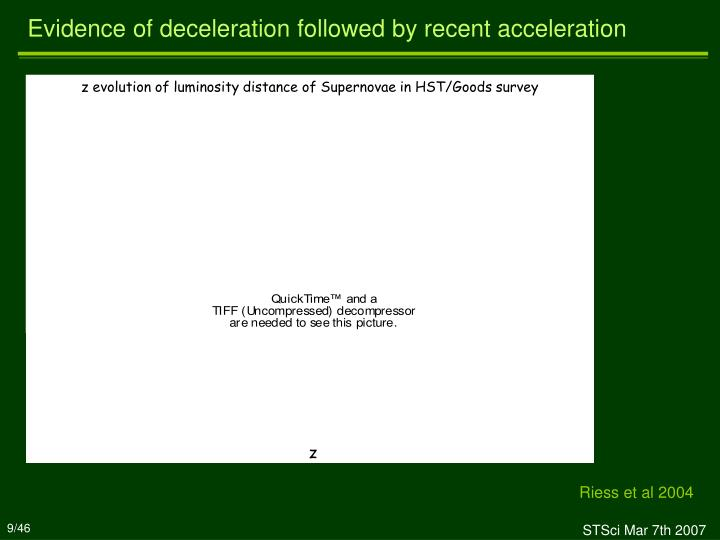z evolution of luminosity distance of Supernovae in HST/Goods survey