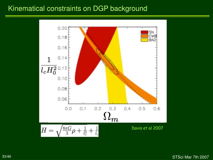 Kinematical constraints on DGP background