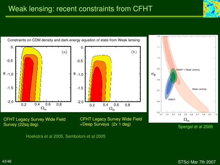 Weak lensing: recent constraints from CFHT