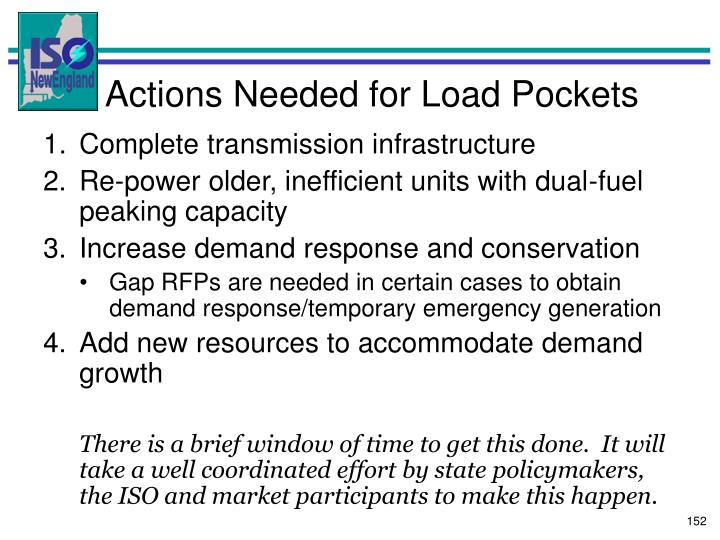 Actions Needed for Load Pockets