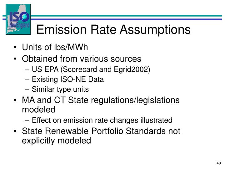 Emission Rate Assumptions