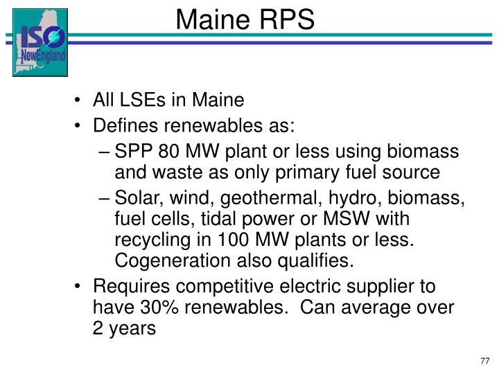 Maine RPS