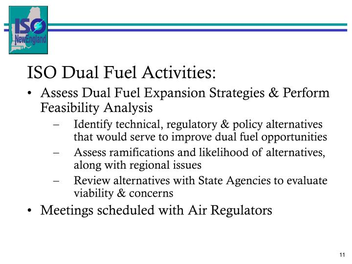 ISO Dual Fuel Activities: