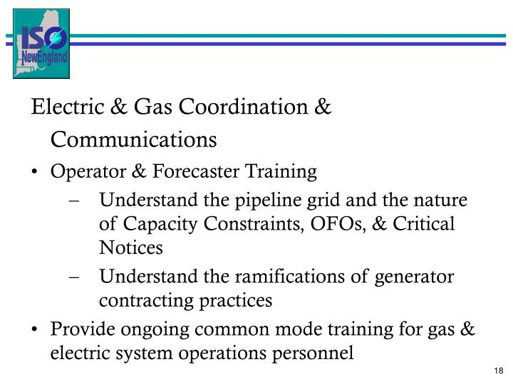 Electric & Gas Coordination & Communications