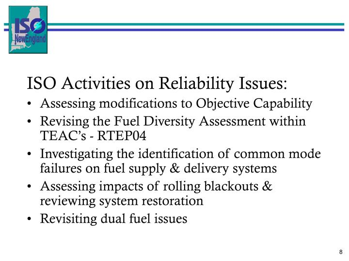 ISO Activities on Reliability Issues: