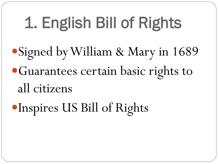 1. English Bill of Rights