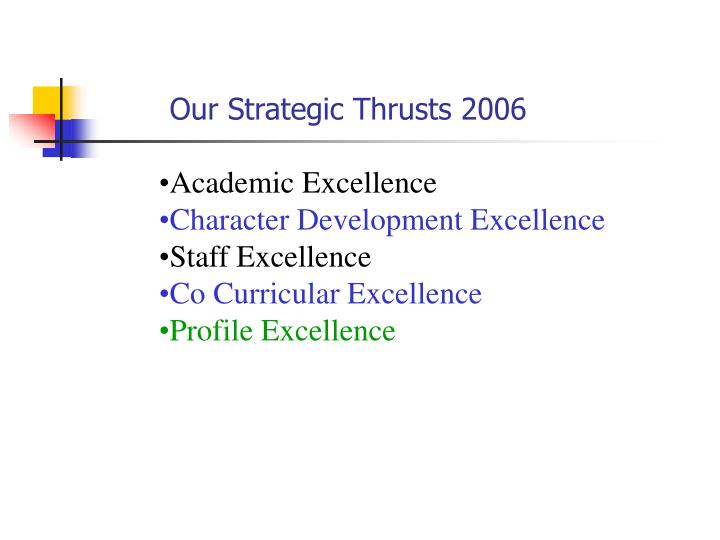 Our Strategic Thrusts 2006