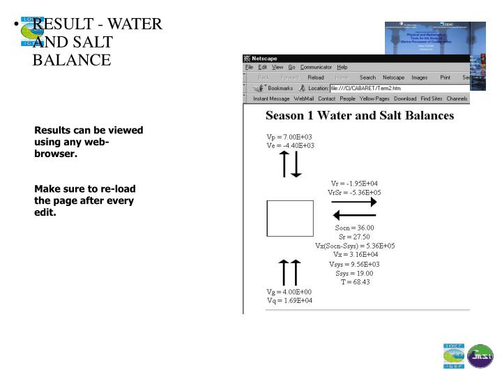 RESULT - WATER AND SALT BALANCE