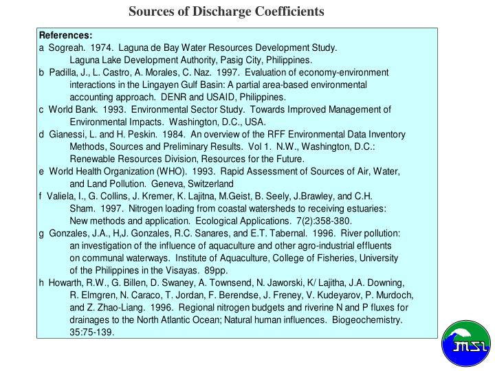 Sources of Discharge Coefficients