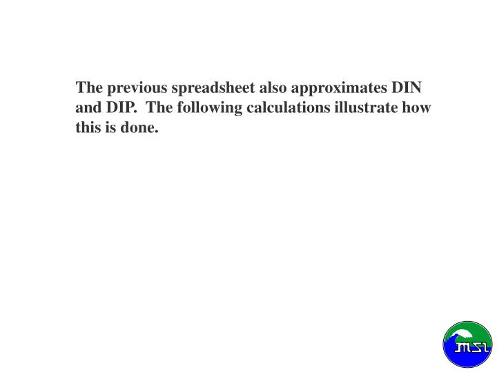 The previous spreadsheet also approximates DIN and DIP.  The following calculations illustrate how this is done.
