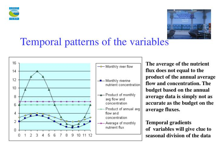Temporal patterns of the variables