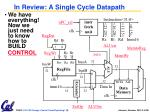 in review a single cycle datapath