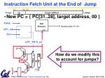 instruction fetch unit at the end of jump