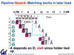 pipeline hazard matching socks in later load