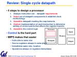 review single cycle datapath